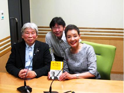 番組収録におじゃましました。 左から水戸岡さん、寺島尚正アナウンサー、浜美枝さん。